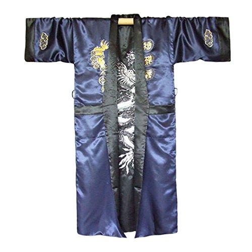 Japanischer Wende-Kimono Satin Morgenmantel für Damen & Herren mit Drachen-Stickerei Dunkelblau