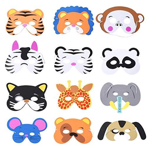 Rmeet Máscaras de Espuma Niños,12 Pack Máscaras de Animales Infantil Mascarillas de...