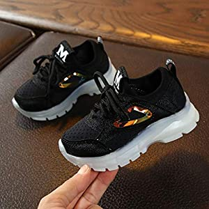 Scarpe da Camminata con Luci - Corsa Sportive Fitness Sneakers Interior Outdoor Casual All'Aperto Shoes - Paillettes Superficie Netta Giuntura Traspirante Sneaker Unisex (27,Nero)