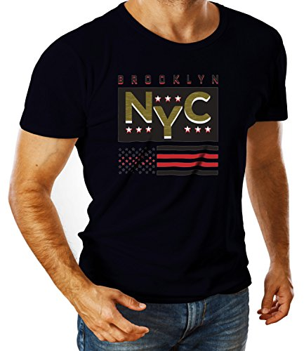 Billion Group | New York Brooklyn Nyc Original Wear | City Collection | Men's Ben Crew Neck Classic Tshirt Blu Small
