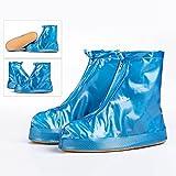 YXX- 1 Paar Wiederverwendbare Wasserdichte Regen Schuh Abdeckung Flattie Rutschfeste Überschuhe für Frauen Mädchen Jungen, Einfach zu Tragen, verschleißfest (Farbe : Blau, größe : 26.5cm)