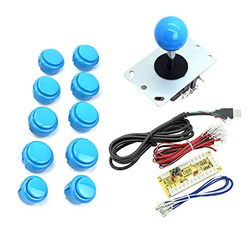 WINIT Zero Delay PC Joystick Cabinet DIY Parts Kit for Mame Jamma & Fighting Games 10PCS Blue buttons+1pcs Zero Delay + 1PCS Blue Ball 8 Way Joystick USB Encoder Support All Windows Systems - Blue Kit (Cabinet Jamma)