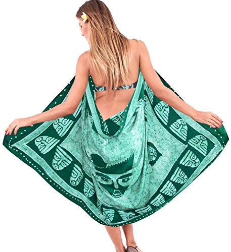 La Leela liscia rayon spiaggia costumi da bagno batik maschera tema coprire sarong 78x42 pollici Verde Foresta 1