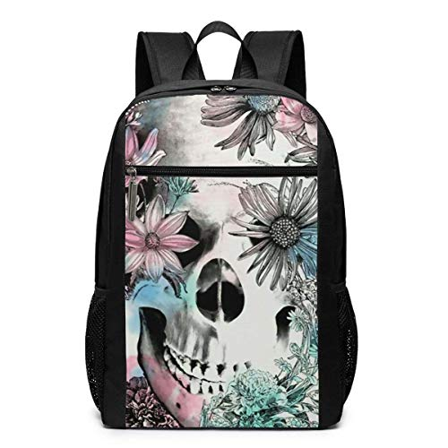 TRFashion Rucksack Skulls and Flowers Laptop Computer Backpack 17 Inch Large Casual Travel Daypack Laptop Bag Schoolbag Book Bag for Men Women Black (Book Bag Coach)