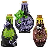 Halloween, gruselige Hexe, Zaubertrankflaschen, Polyresin, Party-Dekoration, Tisch-Deko, ideal für im Haus oder draußen im Garten 3 Stück