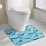 Hoklcvd Tapis de Toilette antidérapant en Forme de U avec Tapis de Toilette en Forme de U de Requin
