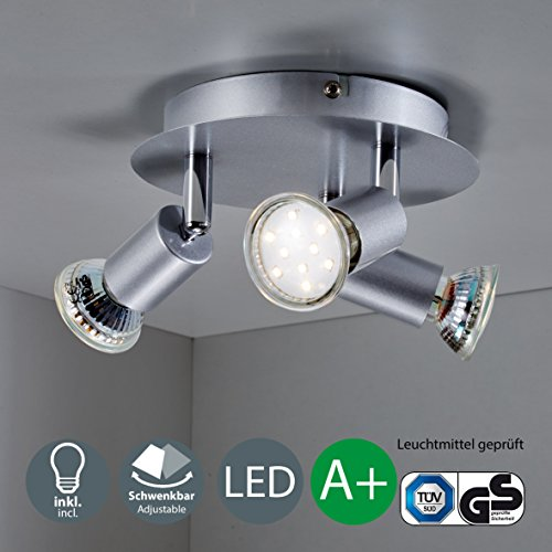 B.K.Licht LED Deckenleuchte 3x LED/GU10/3W