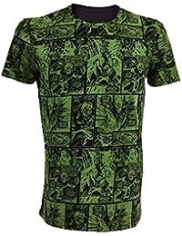 Marvel Comics Incredible Hulk Adult Male Classic Green Comic Strip T-Shirt, Small, Green/Black (Ts210805mar-S)