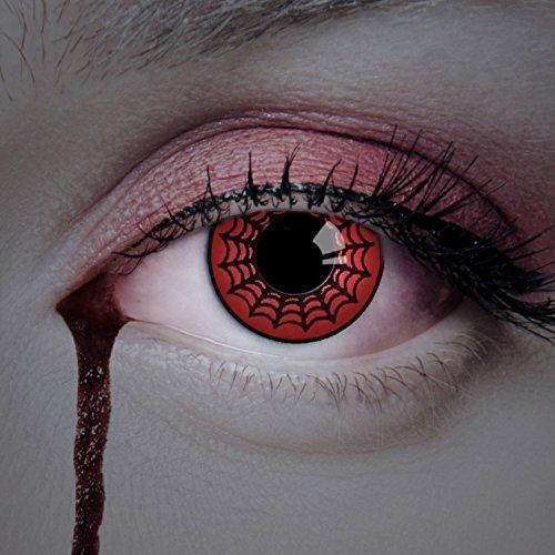 (aricona Kontaktlinsen Farbige Kontaktlinse Scary Spider – Deckende Jahreslinsen für dunkle und helle Augenfarben ohne Stärke, Farblinsen für Karneval, Fasching, Motto-Partys und Halloween Kostüme)