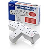 Artis 5 Way Plug T-Socket Mains Switch Extension Adapter Surge Protector