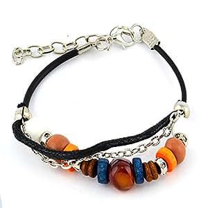 Bracelet breloque - Coton et bois - Bijou fantaisie bohème - Palets - Blanc - Isia - Cadeau Mixte pas cher - Monorang - Mes Bijoux Bracelets