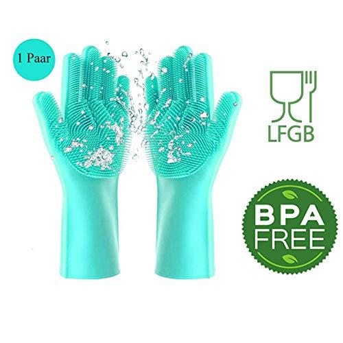 Lebensmittel Flecken Waschmittel (Silikon Handschuhe Schwamm BPA-FREI, LFGB-STANDARD Kitchen Gloves Silikonhandschuhe Waschhandschuhe Felgenreinigung Autowäsche Haushaltsreinigung Spülhandschuhe Küche Bad Putzhandschuhe Wash scrubber)