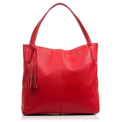 FIRENZE ARTEGIANI.Handtasche für Damen aus echtem Leder Dollar. Weiche Haptik. Shopper. Schultertasche für Damen Echtes italienisches Leder. 36 x 33 x 15 cm. Farbe: Rot - Firenze Leder Taschen