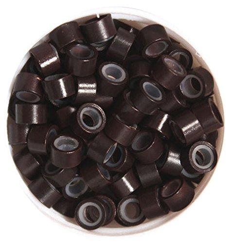 Verklebt Haarverlängerung (Microring Set 3in1: 1 Nadel, 1 Zange, 100 Microrings Silikon für Haarverlängerung mit Extensions dunkelbraun)