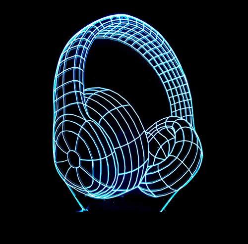 3D Illusion Lampe LED Nachtlicht Headset Form Tischleuchte 3 AA Batterien oder USB-Kabel Powered Schöne Acryl Material Panel ABS Basis für Tischdekoration und Nacht Dekoration Batterie-powered-headset