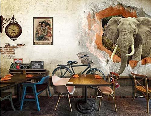 Fototapete 3D - 350X256cm Tapetes - Alte Mauer Retro Elefanten - Moderne Wanddeko Fernseher Sofa Hintergrund Wallpaper Mural Wand Dekoration Tapete Design