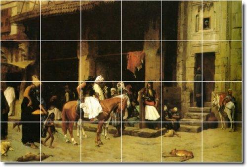 LAWRENCE ALMA-TADEMA HISTORICA AZULEJOS MURAL 24  32X 48PULGADAS DE PARED CON (24) 8X 8AZULEJOS DE CERAMICA