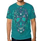 COOSUN Mena s Vektor-Zuckerschädel mit Ornament kurzärmelige T Shirts Groß mehrfarbig