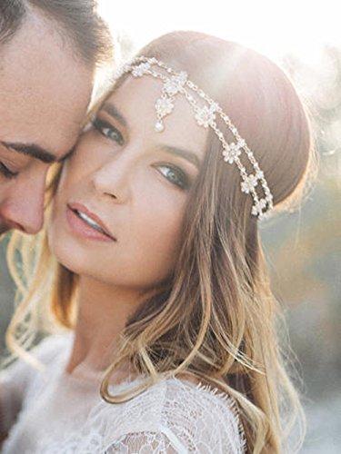 FXmimior Schmuck-Stirnband für Hochzeiten, Brautschmuck, Halloween-Stirnband, griechische Kette mit Blumenmotiv, Haarschmuck, Bollywoodschmuck, (silber)