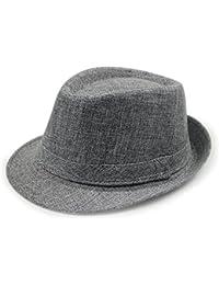 LOCOMO Simple Design Plain Color Linen Fedora Brim Hat FFH267BLK