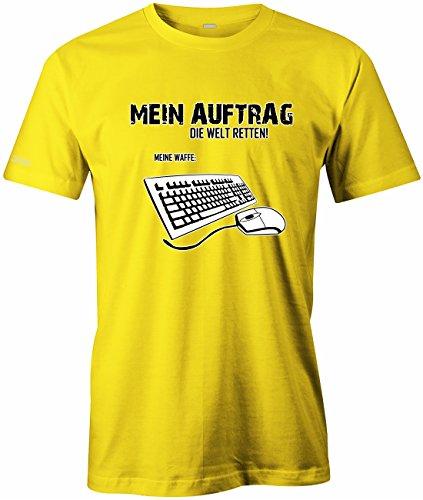 Mein Auftrag die Welt retten - Meine Waffe Pc Maus Tastatur - Herren T-Shirt Gelb