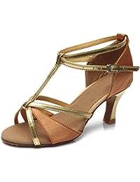 YFF Mädchen Ballroom tango Frauen salsa Latin Dance Schuhe 5 cm und 7 cm hohem Absatz, Schwarz 7 cm, 8 LEIT