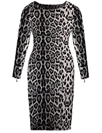 Eyekepper Robe femmes Sexy - Leopard manches longues - Zip moulante