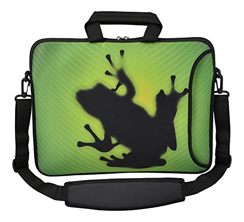 MySleeveDesign Laptoptasche Notebooktasche Umhängetasche Größe 15,6 Zoll und 17,3 Zoll - mit VERSCH. DESIGNS - Frog [15]
