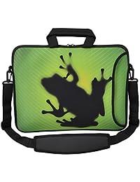 """MySleeveDesign – Bolso bandolera de neopreno funda universal para ordenadores portátiles de 15,6"""" / 17,3"""" – VARIOS DISEÑOS - Frog [15]"""