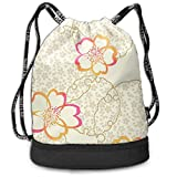 BAOQIN Light Yellow Flower Bundle Backpack Drawstring Back Pack