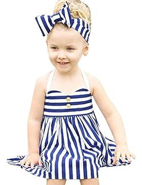 Vestido de niña, Xinan Ropa de los muchachos arropa los sistemas de la princesa Dress + Headband 2PCS del verano