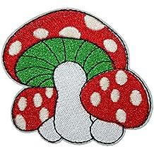 7.1 x 7.6 cm Aufnäher // Bügelbild Pilz Super Mario rot