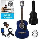 Guitarra acústica paquete 3/4 tamaño (36 pulgadas) clásica cuerda de nailon para niños Guitarra Pack azul
