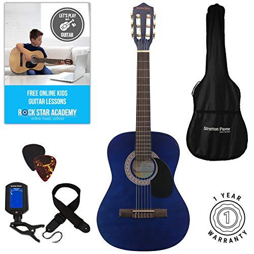 Guitarra acústica 3/4 (91,4 cm), pack de cuerdas de nailon para guitarra infantil clásica, color azul