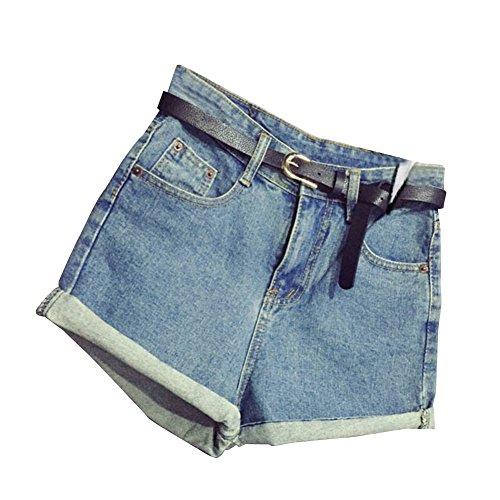 SaiDeng Mujer Cintura Alta Pantalones Cortos Engaste Shorts De Mezclilla  Casual Jeans Shorts con Cinturón 76561695da5
