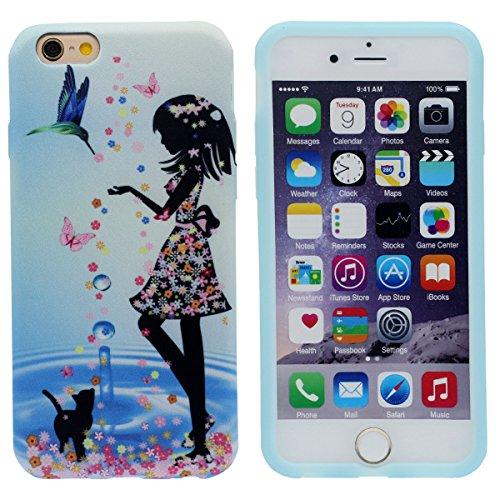 iPhone 6S Plus Coque Mince et léger, Tissu & Plastique Hybride Doux Gel Motif Style Beau Housse de Protection Case pour Apple iPhone 6 Plus / 6S Plus 5.5 inch bleu-3