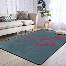 Heteyys I Love You Indoor Floor Mat Living Room Household Carpet Children Play Mat Rectangle Carpet 84x60 in,Black,One Size