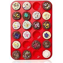 Casa Bonita Large Mini Muffin Pans–24tazze Jumbo in silicone stampo/teglia–antiaderente teglia per muffin, torte e cupcake–latta resistente al calore fino a 450F- Microonde e lavastoviglie 34 x 24 x 2cm Red - Dozzina Muffins