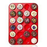 Casa bonita Large mini muffin Pans–24tazze Jumbo stampo in silicone/teglia–Top antiaderente teglia per muffin, torte e cupcakes–Heat Resistant Tins Up to 450F–lavastoviglie e forno a microonde 34 x 24 x 2cm Red