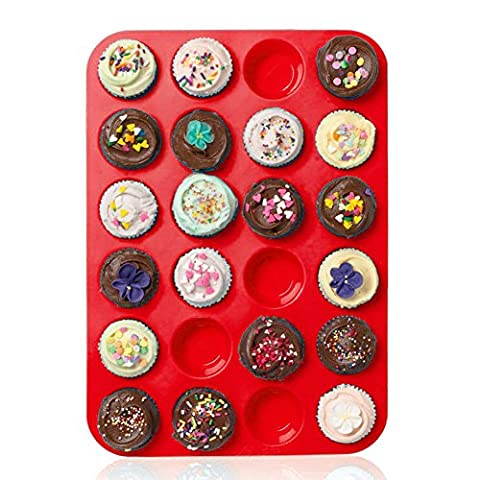 Casa Bonita Large Mini Muffin Pans - 24 Cups Jumbo Silicone Mould / Baking Tray - Top Non Stick Bakeware for Muffins, Cakes and Cupcakes - Heat Resistant Tins up to 450F- Dishwasher and Microwave Safe (Red) - Dozzina Muffins