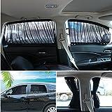 Andux Zone Auto Seite Fenster Vorhang Baumwolle Sonne Schatten 1 Paar PBCL-01 (Schwarz, 50S)