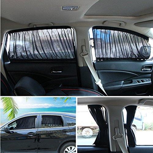 Andux Zone Auto Seite Fenster Vorhang Baumwolle Sonne Schatten 1 Paar PBCL-01 (Schwarz, 50L)