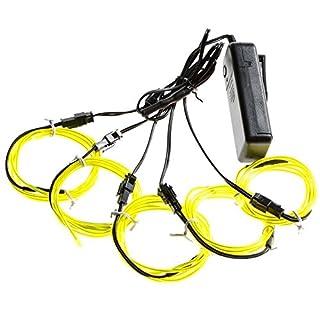 Possbay Neon-Leuchtseil, 5x 1Meter EL mit Akku-Schaltung als Licht-Dekoration für Partys, Fasching, Weihnachten, Autos, lichtgrün, Battery Controller
