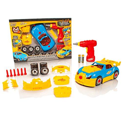 (Take Apart® 2 in 1 Spielzeug Rennwagen - Lights & Sounds Bau-Spielzeug-Kit - Bauen Sie Ihr eigenes Car Kit Toys Geschenke für 4/5/6/7/8 Jahre Old Boys)