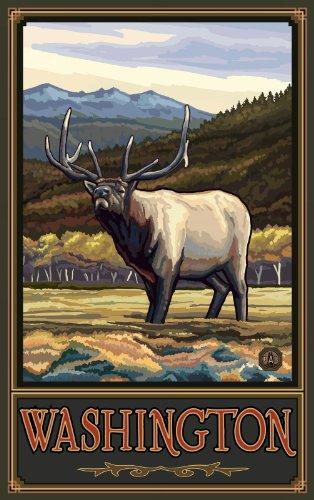 Northwest Art Mall Washington, Elk Kunstwerk, von Paul A Lanquist, 28 x 43 cm -