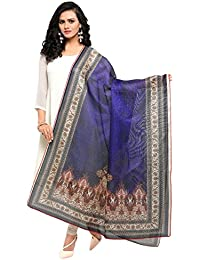 Varayu Women's Abstract Digital Printed Mock Leno Dupatta(Blue,7FDJ507)