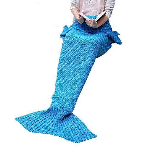 Warm und weich Meerjungfrau Schwanz Decke von aiqi, Handwerk Crochet Snuggle Cozy Fleece Sofa Bett Schlafsäcke, ideal Geschenke für Familienmitglieder oder Freunde - 70.8 * 34.5inch - Meerblau