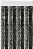 Flauschvorhang individuell kürzbar Auswahl: Unistreifen anthrazit - schwarz 90 x 200 cm