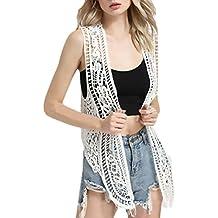 Mujer Blusas Encaje Tejer De Frente Abierto Huecos Irregular Elegantes Clásico Especial Vintage Hippie Boho Moda