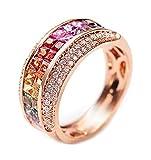 Epinki 18K Oro Anillos,2.3Ct Cuadrado Corte Redondo Certificado Diamante Zafiro Anillo de Brillantes Anillo de Compromiso Para Mujeres Tamaño 17